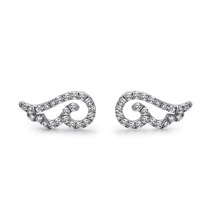 14k White Gold Diamond Angel Wing Earrings