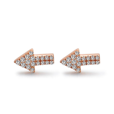 14k Rose Gold Diamond Arrow Stud Earrings