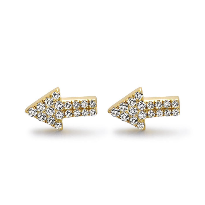 14k Yellow Gold Diamond Arrow Stud Earrings