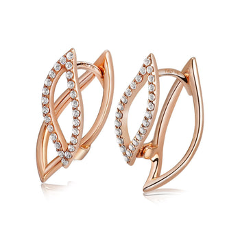 14k Rose Gold Diamond Petal Earrings