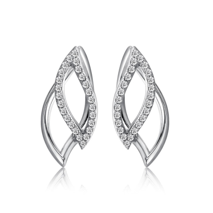 14k White Gold Diamond Petal Earrings