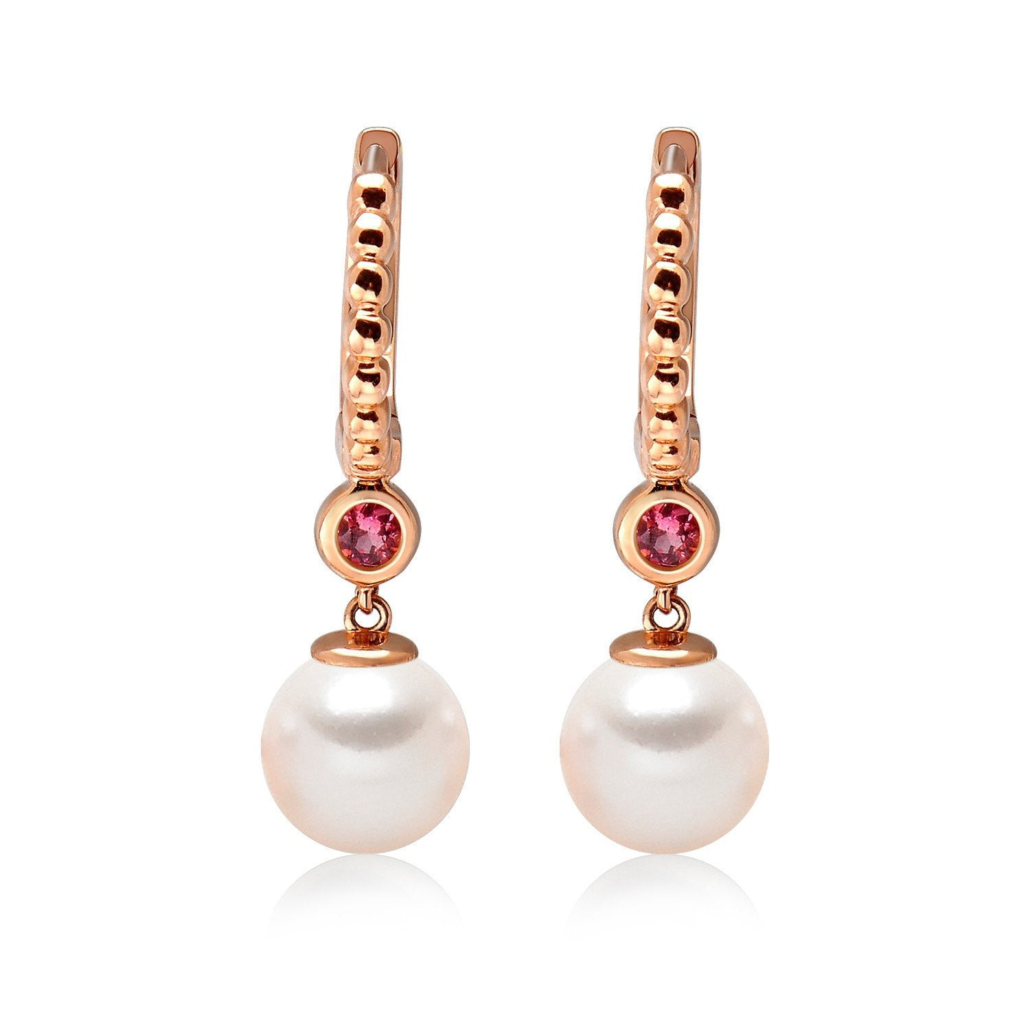 14k Rose Gold 555mm Akoya Pearl And Pink Tourmaline Earrings