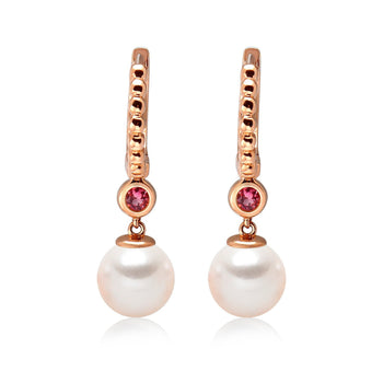 14k Rose Gold 5-5.5mm Akoya Pearl and Pink Tourmaline Earrings