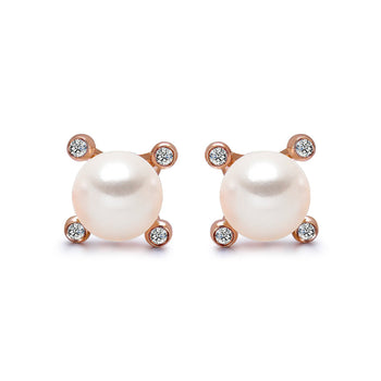 14k Rose Gold 4-4.5mm Akoya Pearl and Diamond Stud Earrings