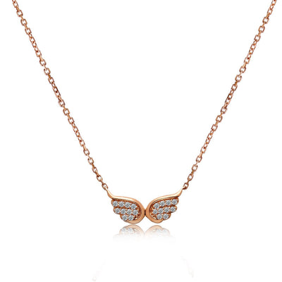 14k Rose Gold Diamond Wings Necklace