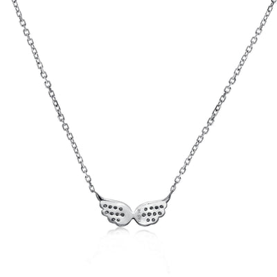 14k White Gold Diamond Wings Necklace