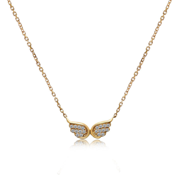 14k Yellow Gold Diamond Wings Necklace