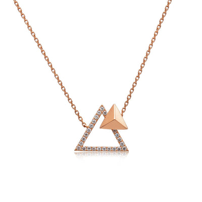 14k Rose Gold Diamond Triangle Stud Necklace