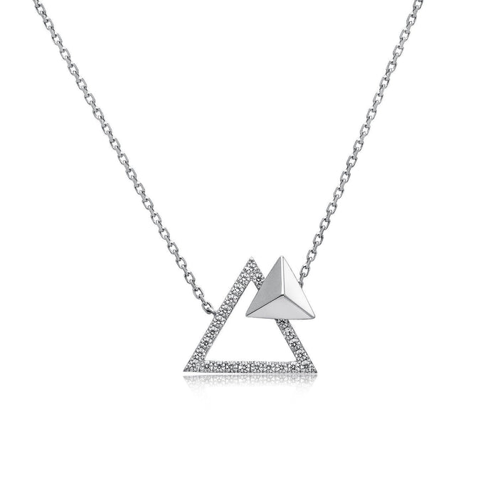 14k White Gold Diamond Triangle Stud Necklace