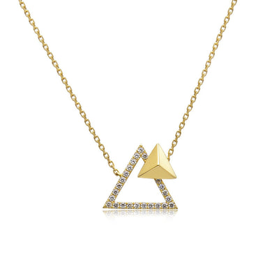 14k Yellow Gold Diamond Triangle Stud Necklace
