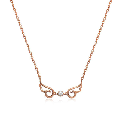 14k Rose Gold Diamond Angel Wing Necklace