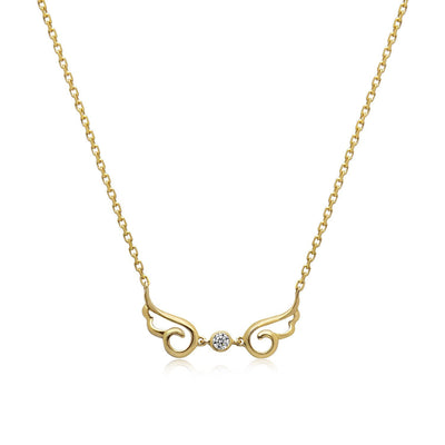 14k Yellow Gold Diamond Angel Wing Necklace
