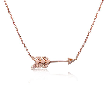 14k Rose Gold Diamond Feather Arrow Necklace