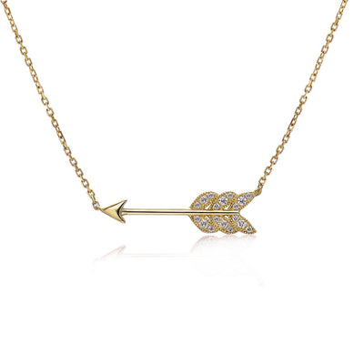 14k Yellow Gold Diamond Feather Arrow Necklace