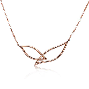 14k Rose Gold Diamond Petal Necklace