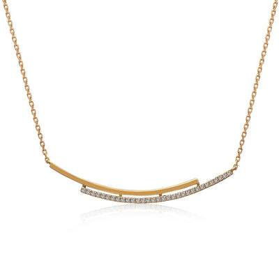 14k Yellow Gold Diamond Double Bar Necklace