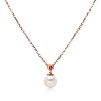 14k Rose Gold 6.5-7mm Akoya Pearl and Pink Tourmaline Necklace