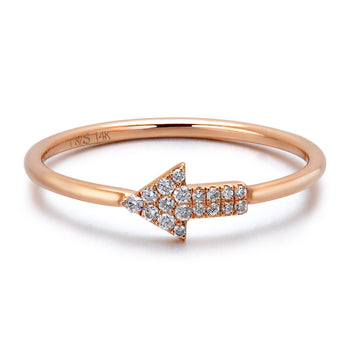 14k Rose Gold Diamond Arrow Stackable Ring