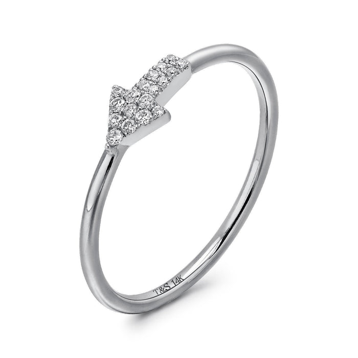 14k White Gold Diamond Arrow Stackable Ring