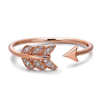 14k Rose Gold Diamond Feather Arrow Stackable Ring