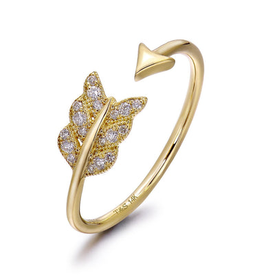 14k Yellow Gold Diamond Feather Arrow Stackable Ring