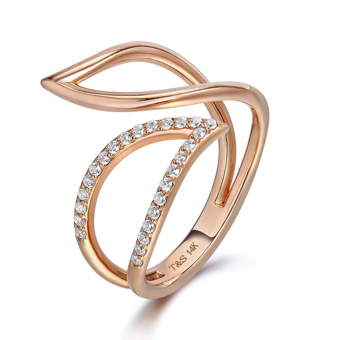 14k Rose Gold Diamond Petal Ring