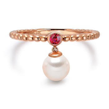 14k Rose Gold 5-5.5mm Dangle Akoya Pearl and Pink Tourmaline Stackable Ring