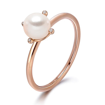 14k Rose Gold 5-5.5mm Akoya Pearl and Diamond Ring