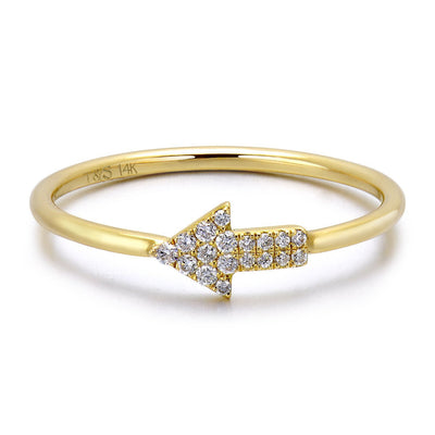 14k Yellow Gold Diamond Arrow Stackable Ring