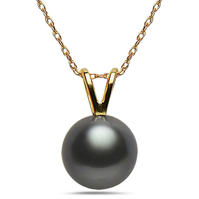 8-9mm Natural Color Tahitian Pearl 14k Yellow Gold Pendant