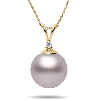 8-9mm Pink Freshwater Cultured Pearl and Diamond 14k Yellow Gold Pendant