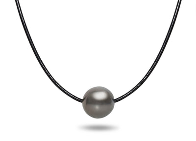 10-11mm Tahitian Pearl Leather Necklace
