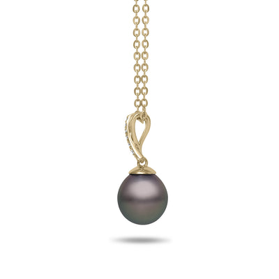8-9mm Natural Color Tahitian Cultured Pearl and Diamond 14k Yellow Gold X Pendant Necklace