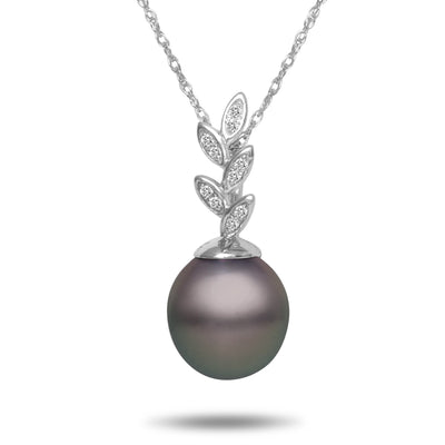 8-9mm Natural Color Tahitian Pearl and Diamond 14k White Gold Floral Pendant Necklace