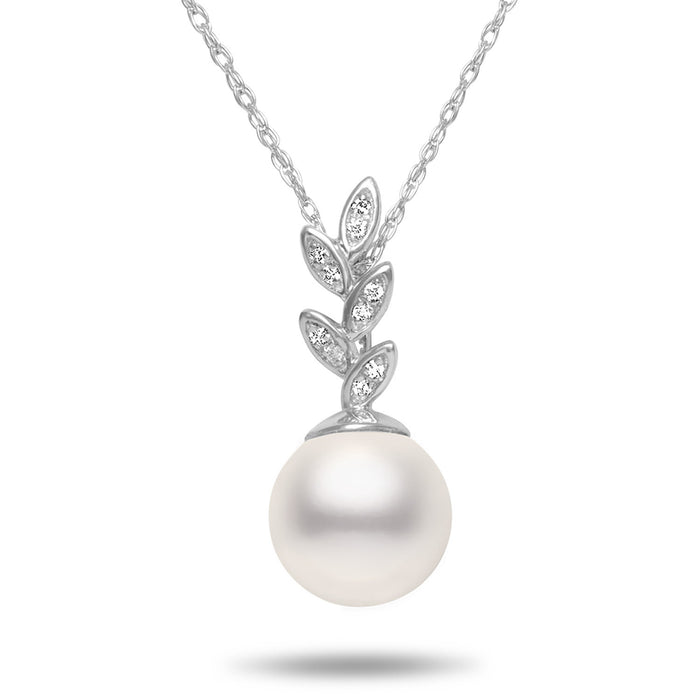 8-8.5mm Akoya Cultured Pearl and Diamond 14k White Gold Floral Pendant Necklace