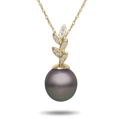 8-9mm Natural Color Tahitian Pearl and Diamond 14k Yellow Gold Floral Pendant Necklace