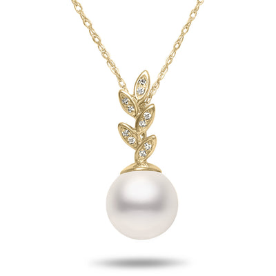 8-8.5mm Akoya Cultured Pearl and Diamond 14k Yellow Gold Floral Pendant Necklace