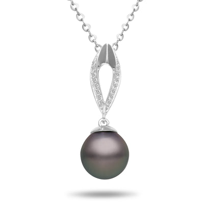 8-9mm Natural Color Tahitian Pearl and Diamond 14k White Gold Marquise Pendant Necklace