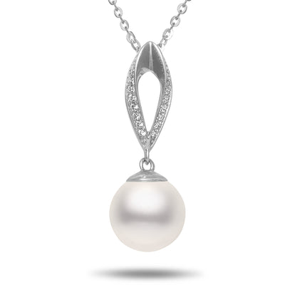 8.5-9mm Akoya Cultured Pearl and Diamond 14k White Gold Marquise Pendant Necklace