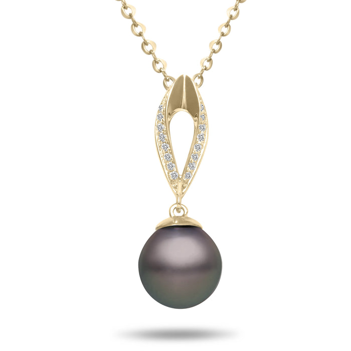 8-9mm Natural Color Tahitian Pearl and Diamond 14k Yellow Gold Marquise Pendant Necklace