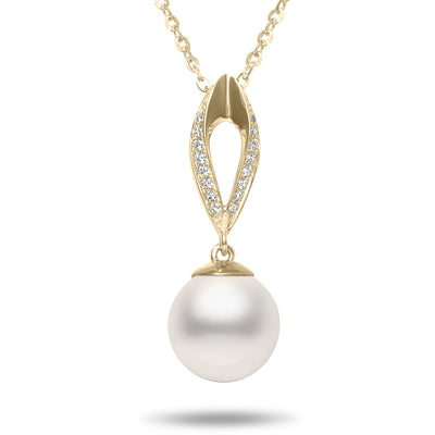 8.5-9mm Akoya Cultured Pearl and Diamond 14k Yellow Gold Marquise Pendant Necklace