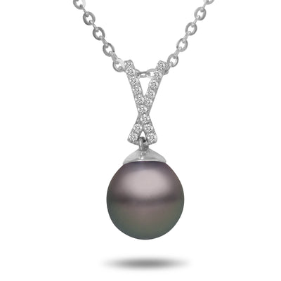 8-9mm Natural Color Tahitian Pearl and Diamond 14k White Gold Ribbon Pendant Necklace