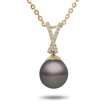 8-9mm Natural Color Tahitian Pearl and Diamond 14k Yellow Gold Ribbon Pendant Necklace
