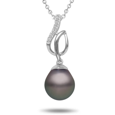 8-9mm Natural Color Tahitian Pearl and Diamond 14k White Gold Melody Pendant Necklace