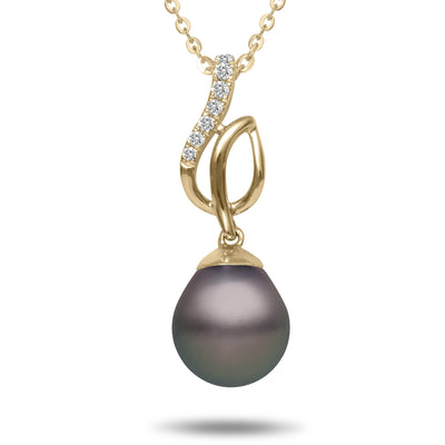 8-9mm Natural Color Tahitian Pearl and Diamond 14k Yellow Gold Melody Pendant Necklace