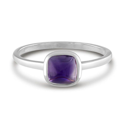 Square Cabochon Amethyst 14k White Gold Stackable Ring
