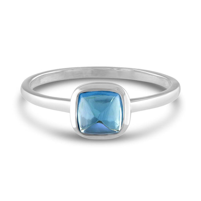 Square Cabochon Blue Topaz 14k White Gold Stackable Ring