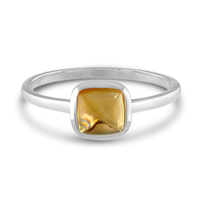 Square Cabochon Citrine 14k White Gold Stackable Ring