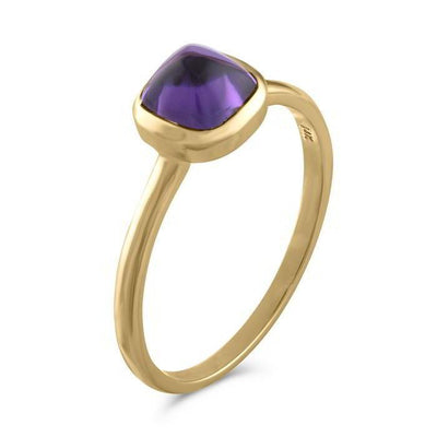 Square Cabochon Amethyst 14k Yellow Gold Stackable Ring