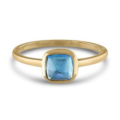 Square Cabochon Blue Topaz 14k Yellow Gold Stackable Ring